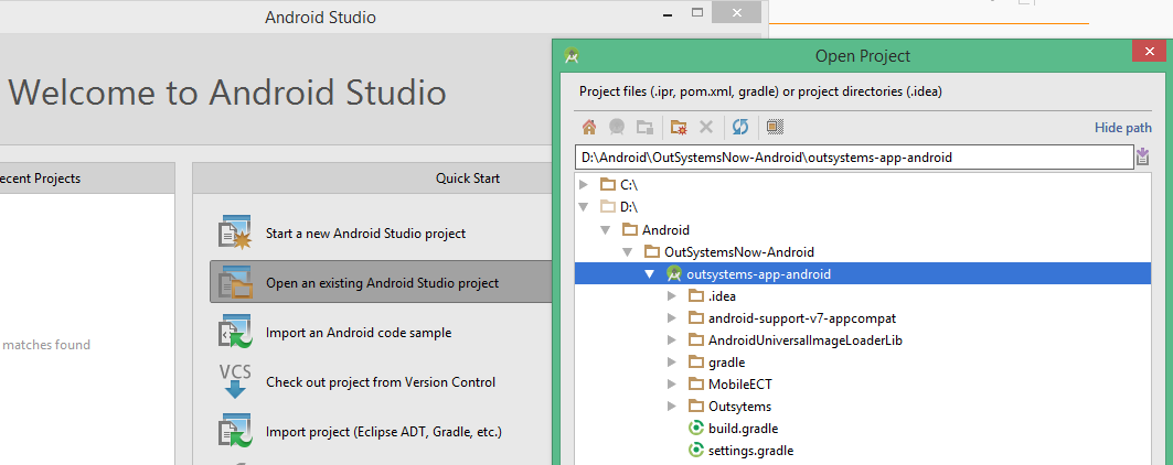 Open android studio project
