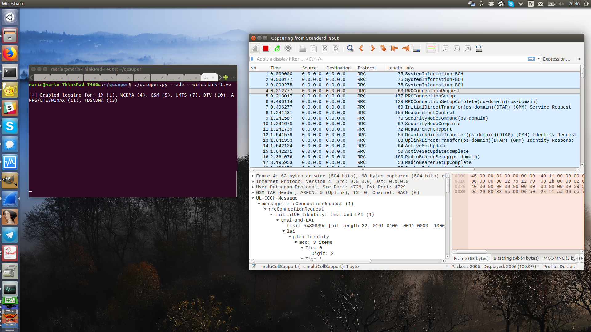 Screenshot of using QCSuper along with Wireshark