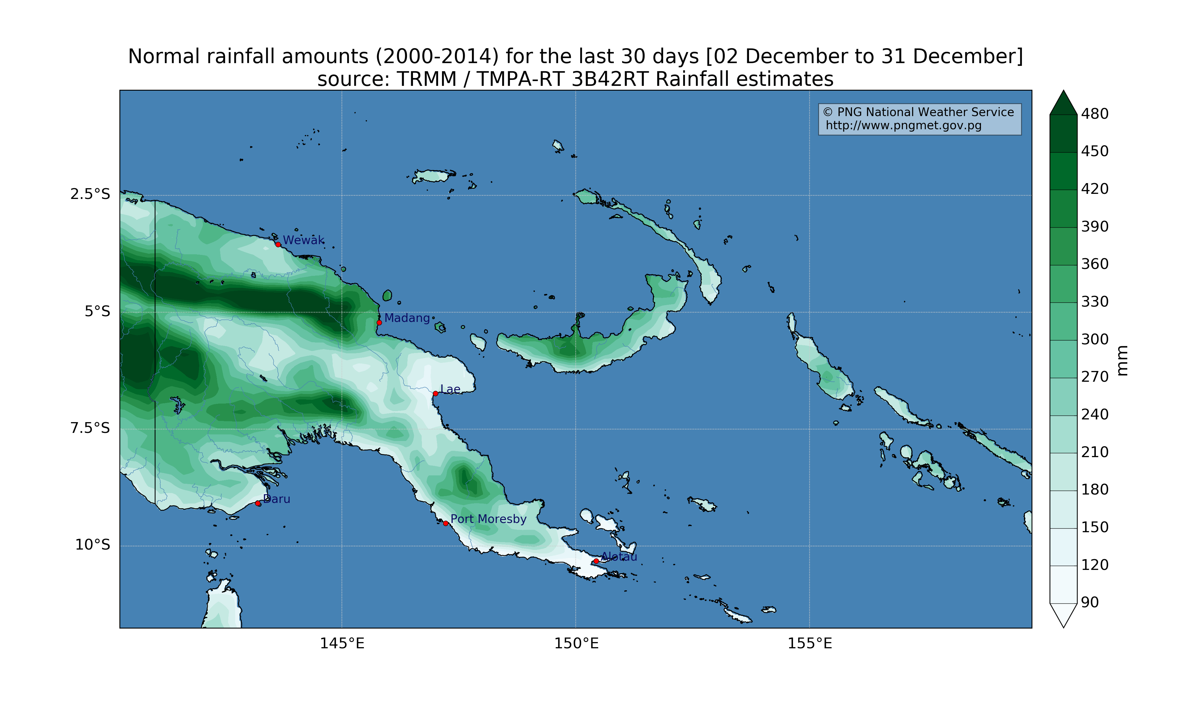 climatology (2000 - 2014 average) for the last 30 days