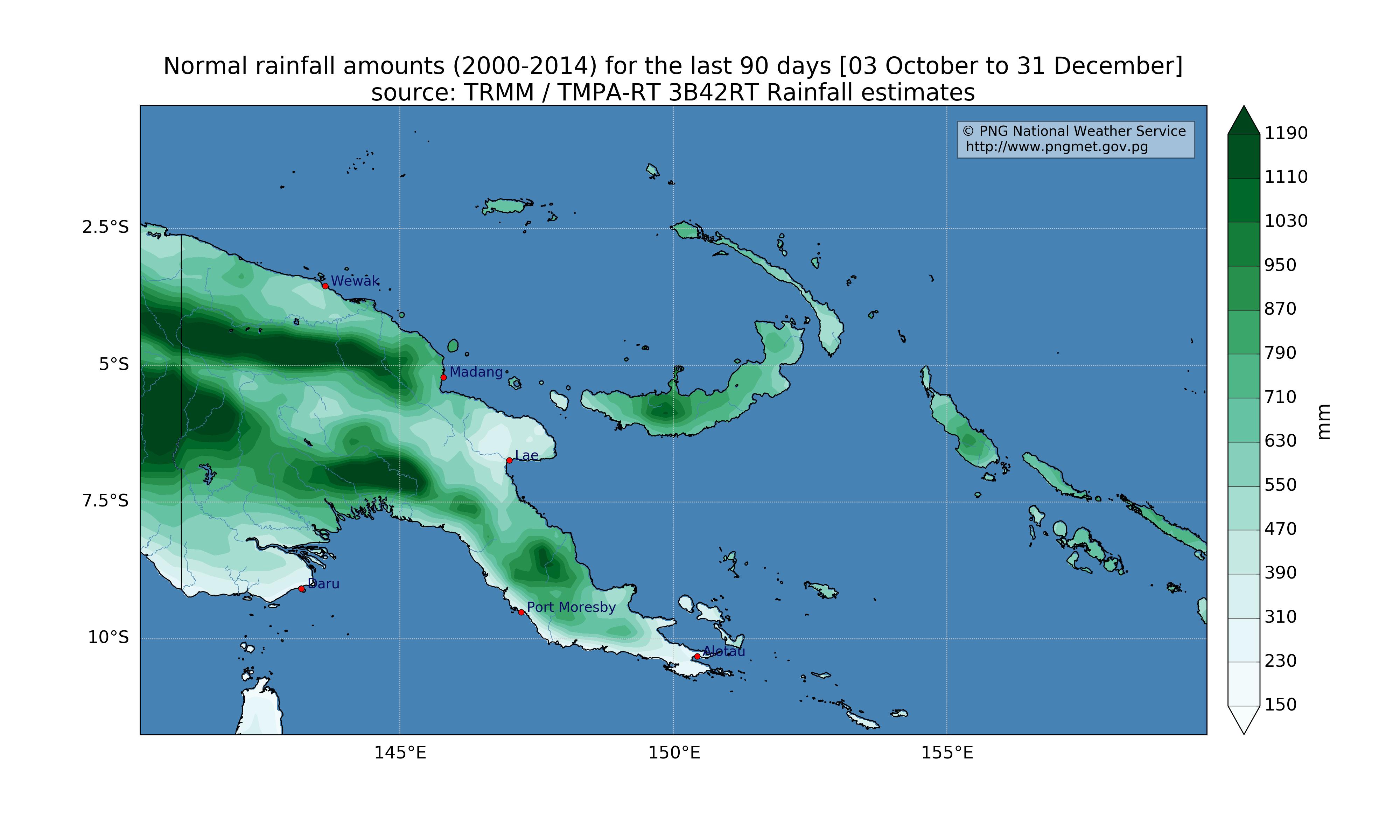 climatology (2000 - 2014 average) for the last 90 days