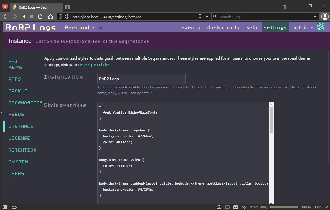 Seq.Net Theme Screenshot