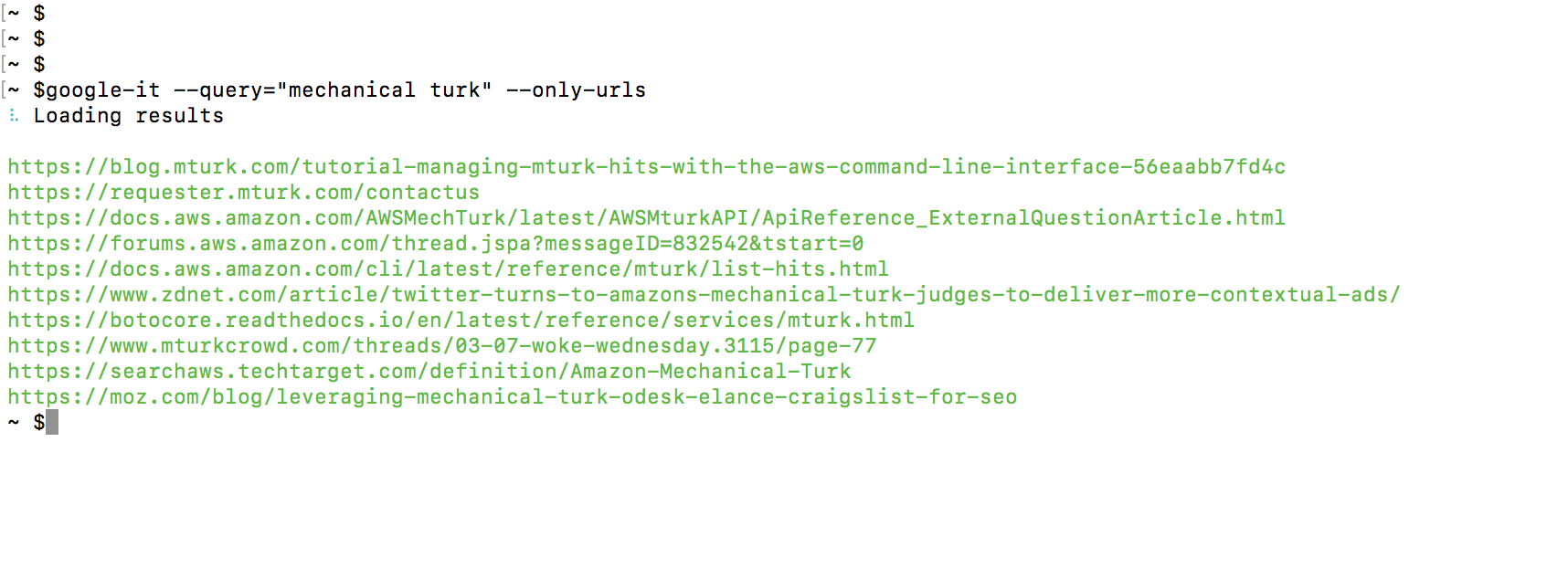 Screenshot of only-urls option