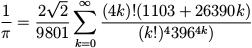 Fórmula – Aproximação de π pela série de Ramanujan.