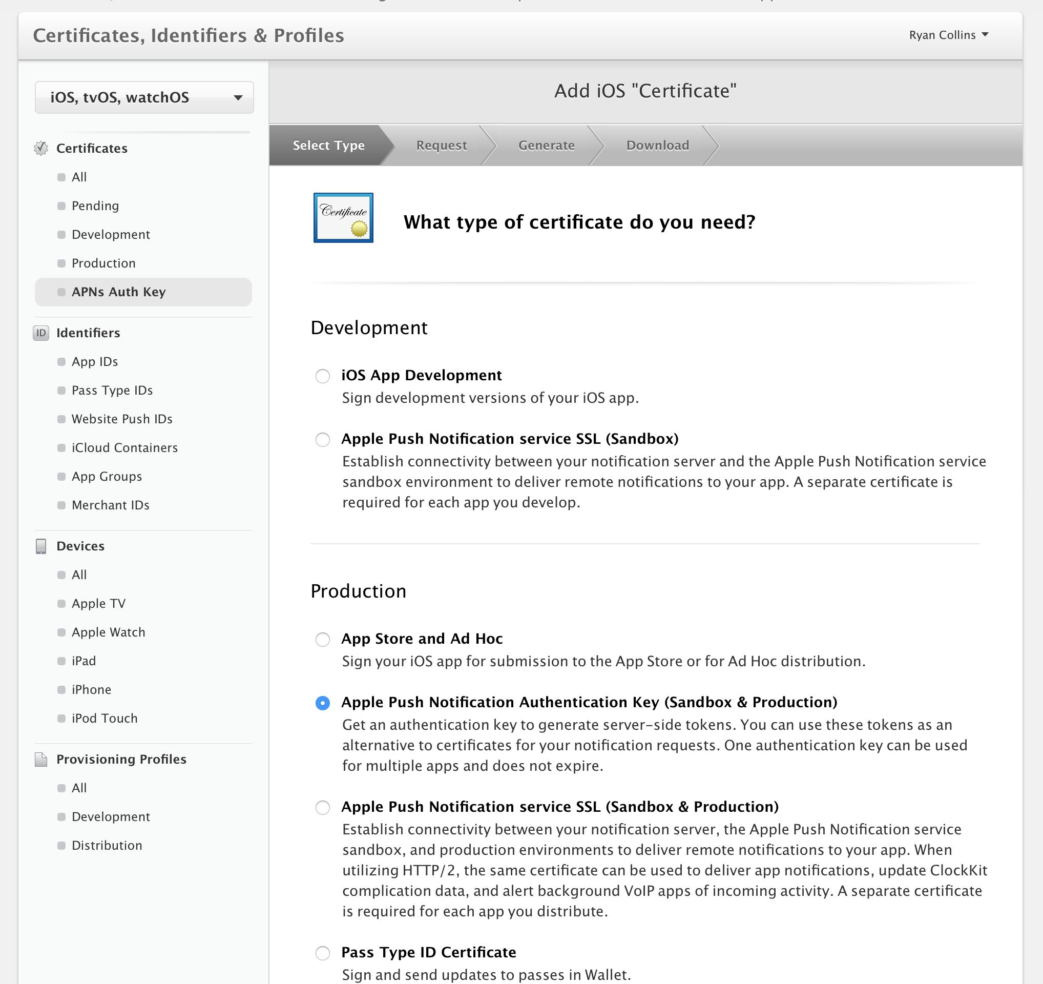 Add New Developer APNS Key