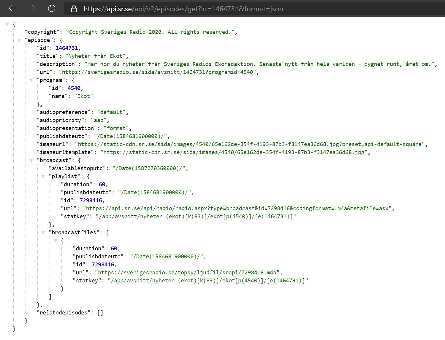 Screenshot of SR API episode details result
