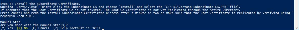 Install Subordinate Certificate