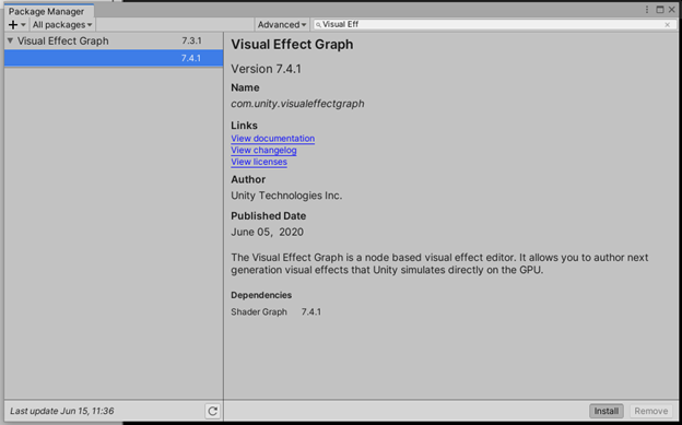 Visual Effect Graph Package