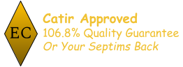 """Badge: """"Catir Approved: 106.8% quality guarantee, or your septims back!"""""""