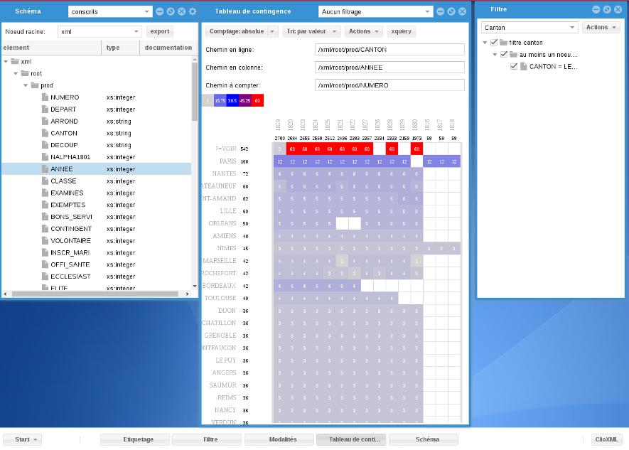Capture d'écran de l'interface de clioXml