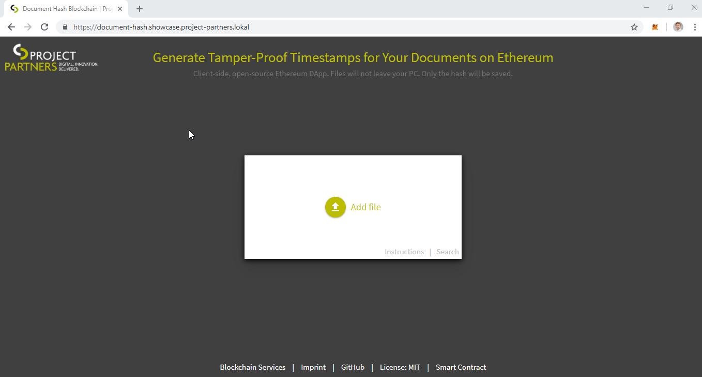 Screenshot of the Document Hash Blockchain Application