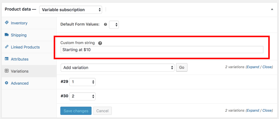 Custom variable product From string WC 3.4+