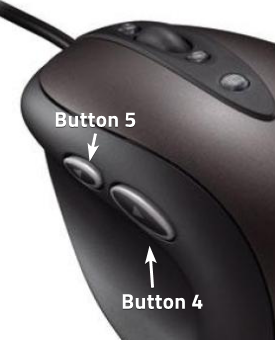 mouse with additional buttons 4 and 5