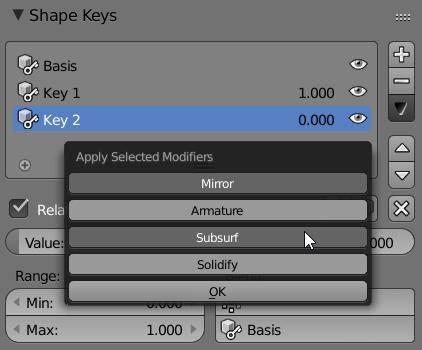 Apply Shapekeyed modifier - popup