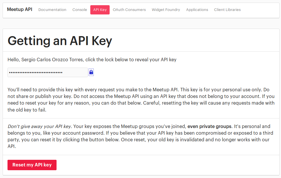 Getting and API key