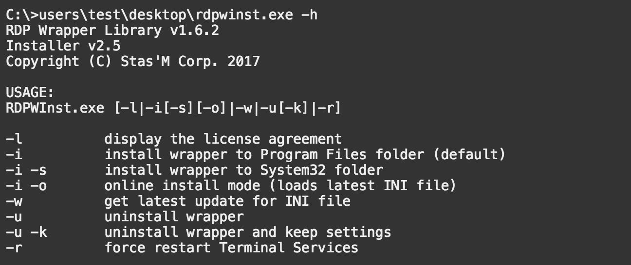 rdpwarp help