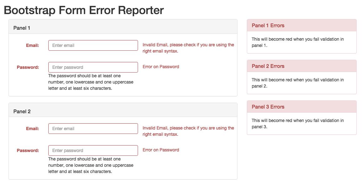Bootstrap Form Error Reporter Npm
