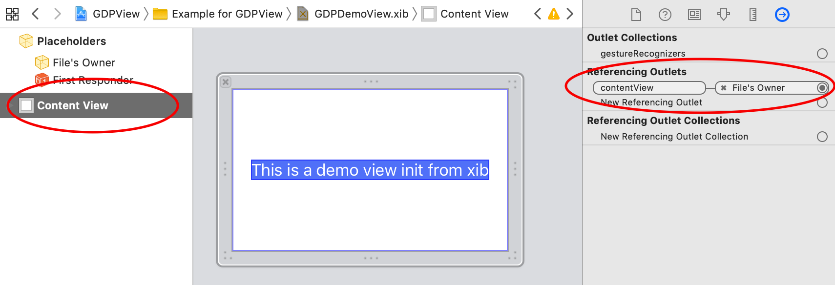 2. link contentView of files owner to the view in the xib