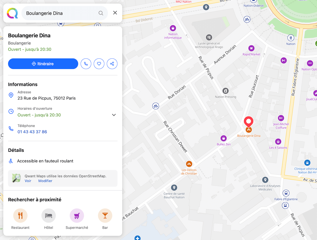Qwant Maps screenshot - Serving suggestion
