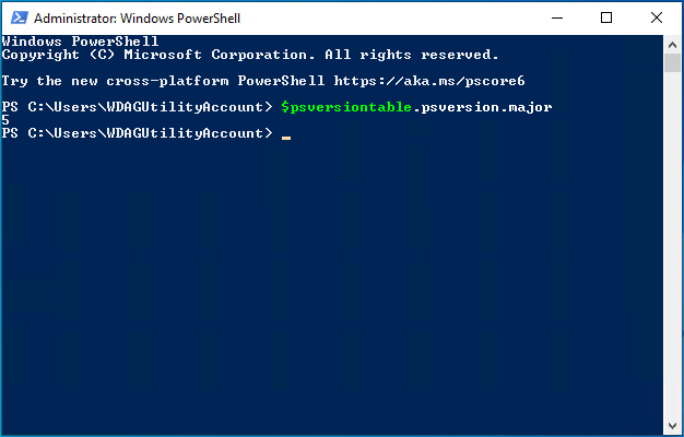 New PowerShell instance displaying major version number