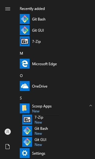 Windows start menu after installing git with Scoop