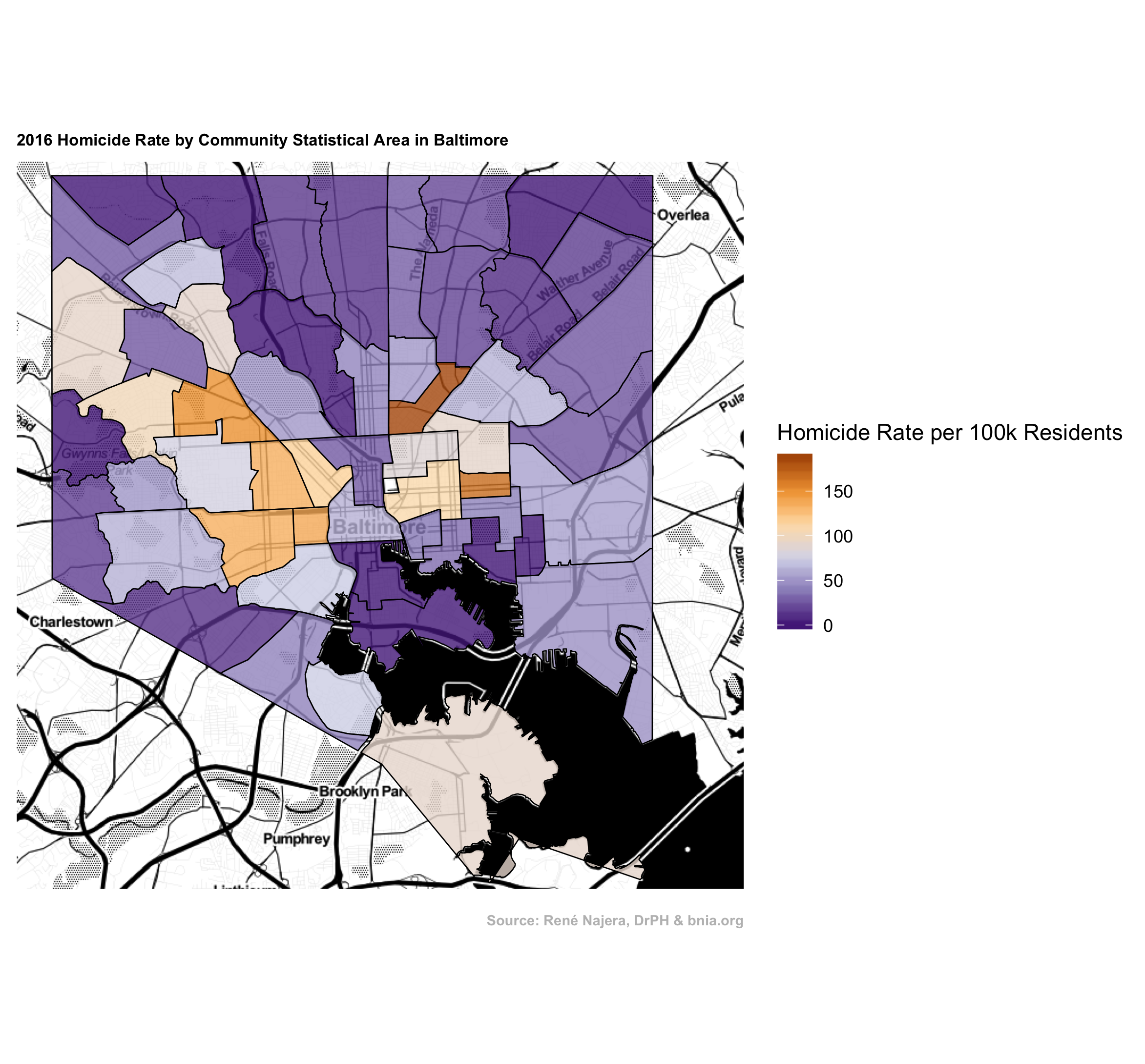 Choropleth Map of Homicide Rate in Baltimore