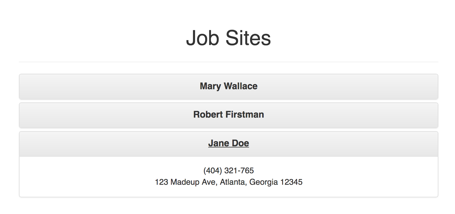 Job Site Page