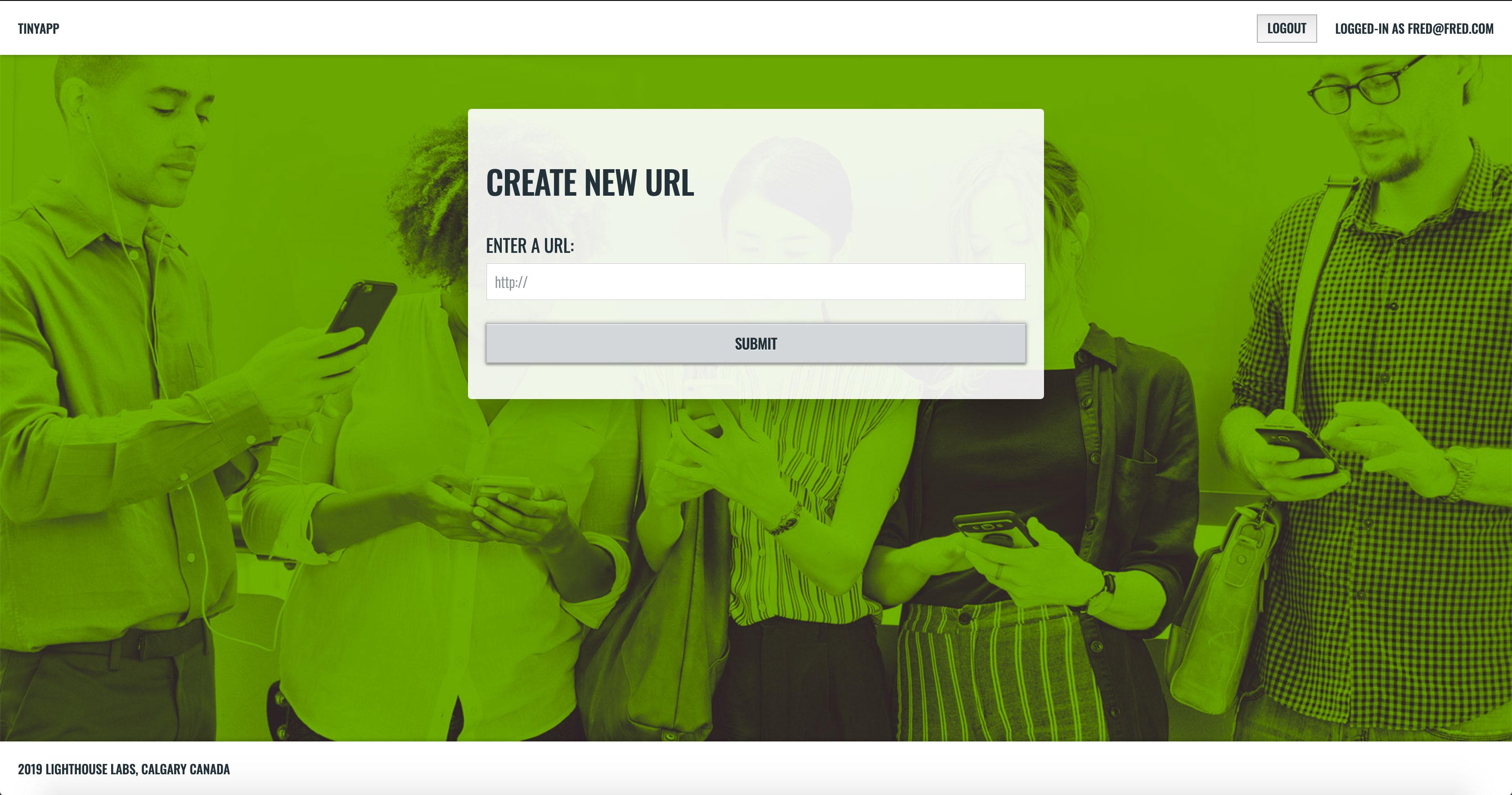 TinyApp Create URL Page