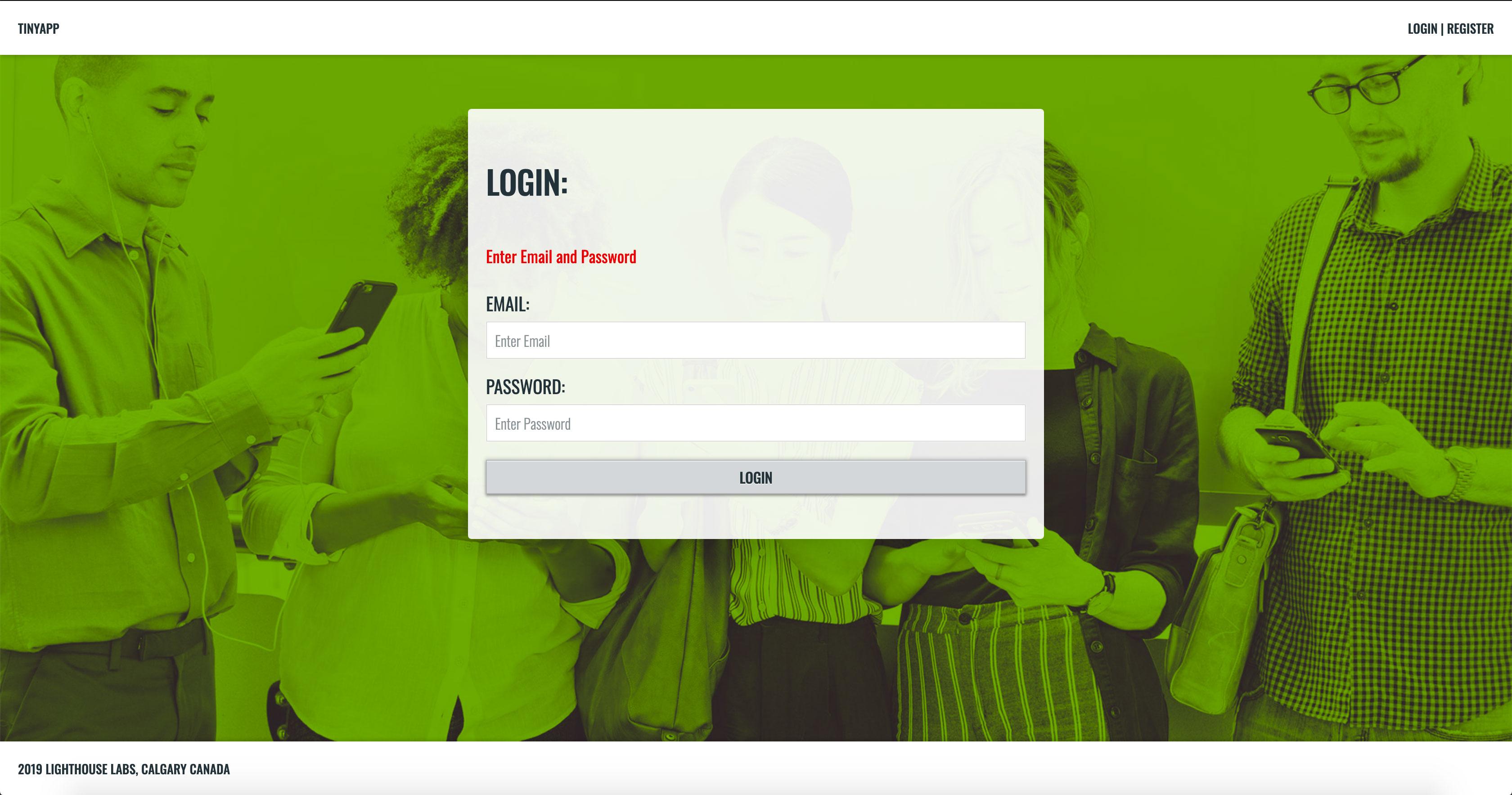 TinyApp Login Page - Error Message