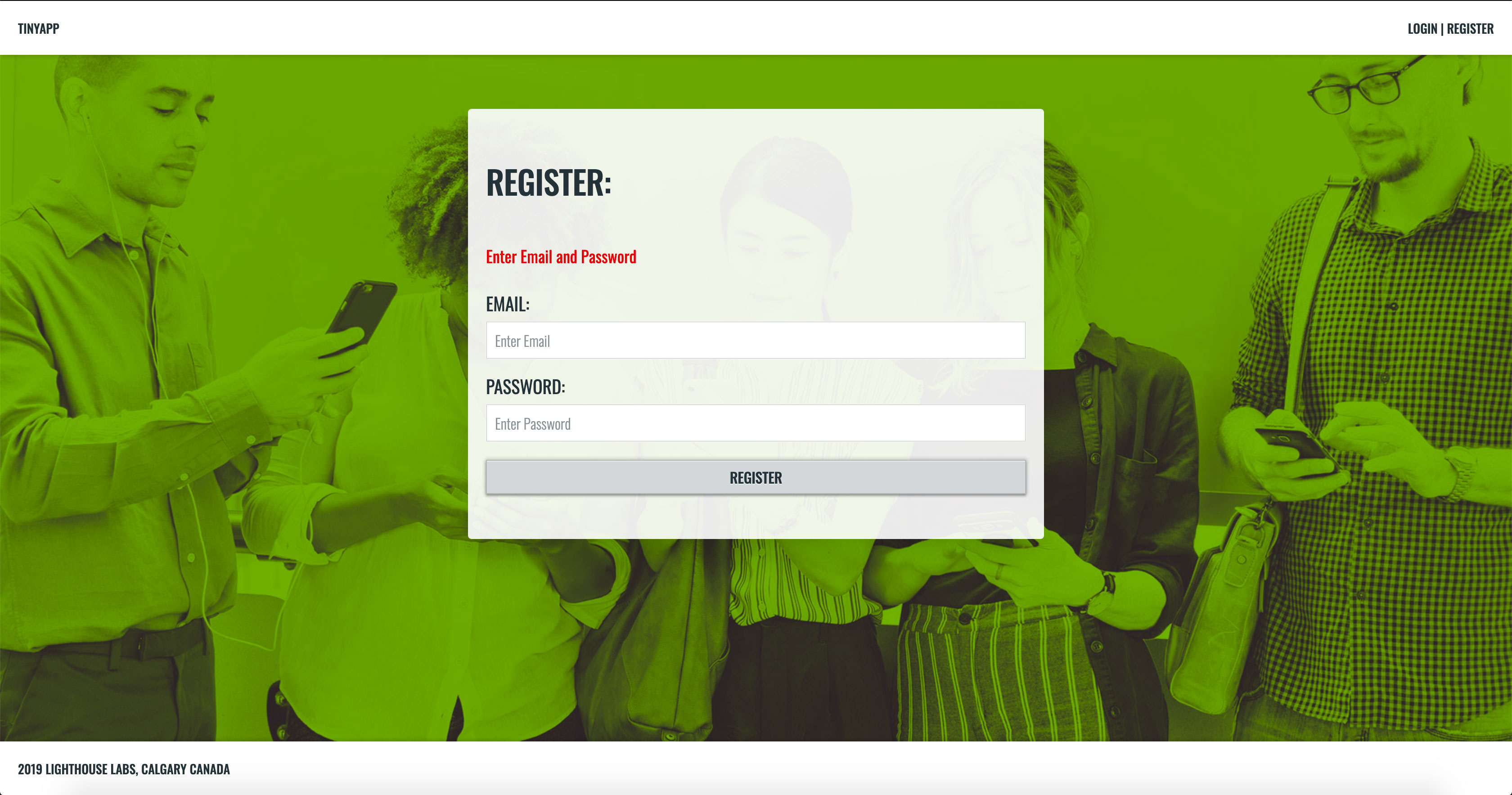 TinyApp Register Page - Error Message