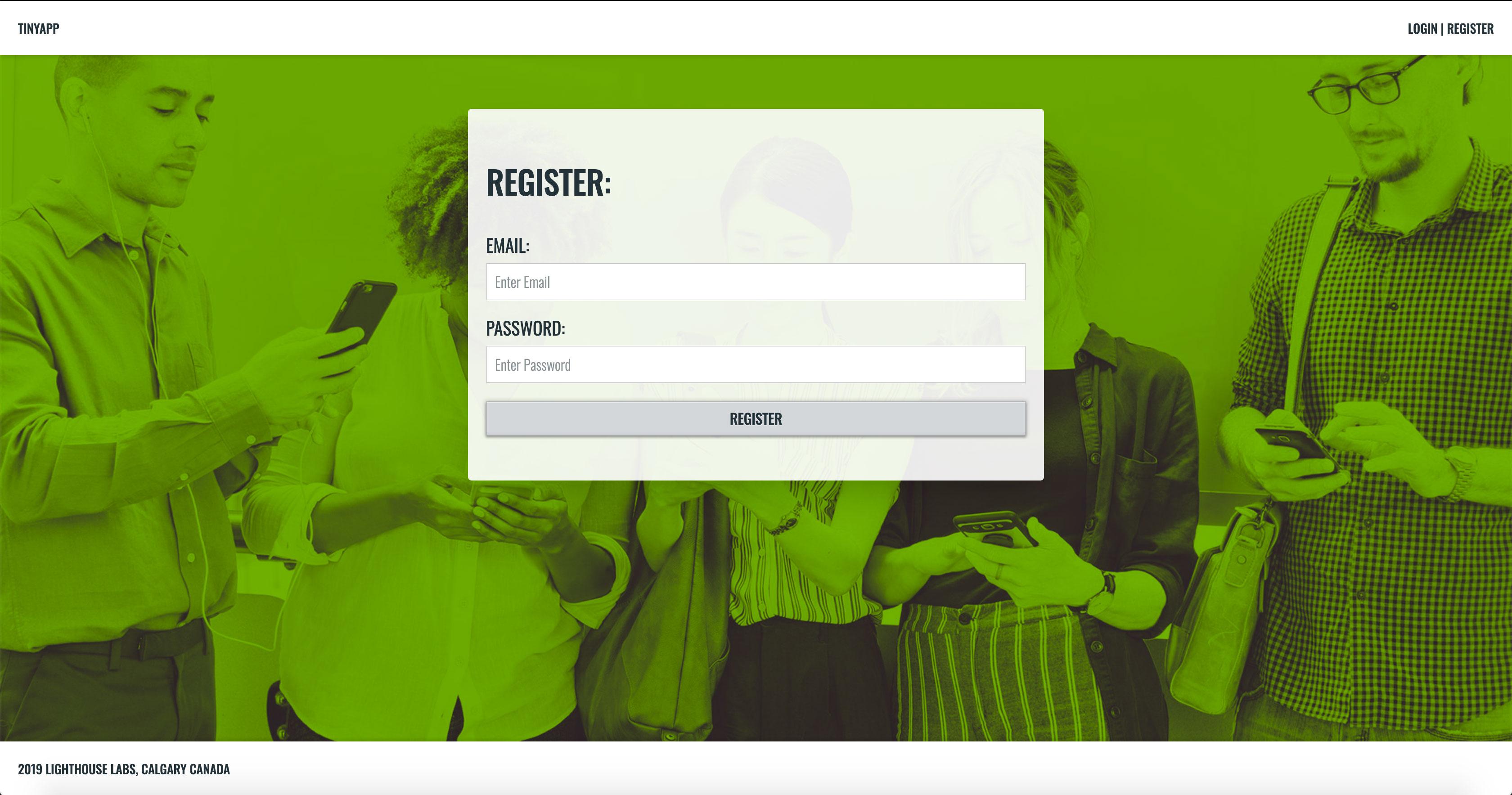 TinyApp Register Page