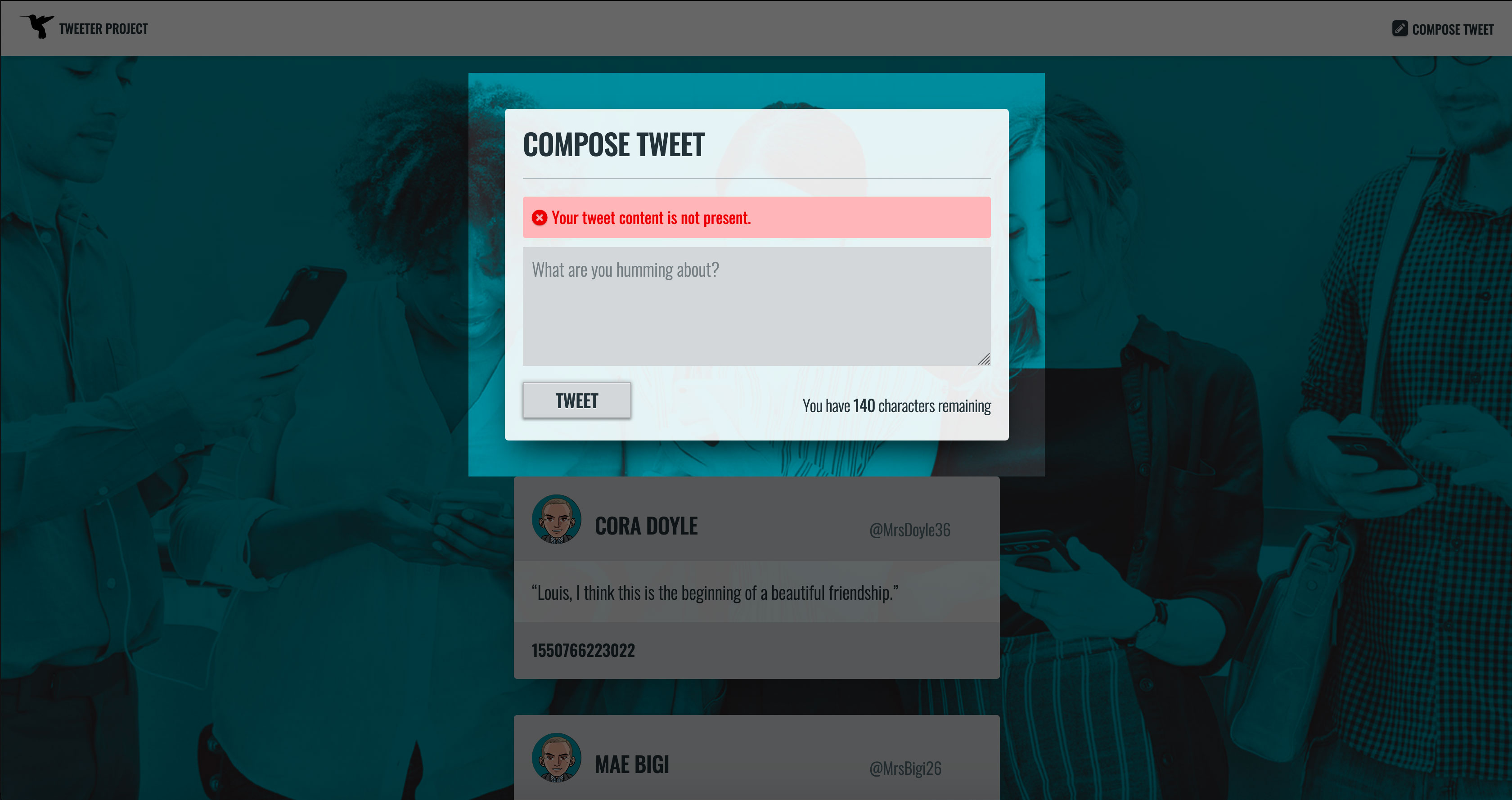 New Tweet, Web Form: Error Message, Content not Present