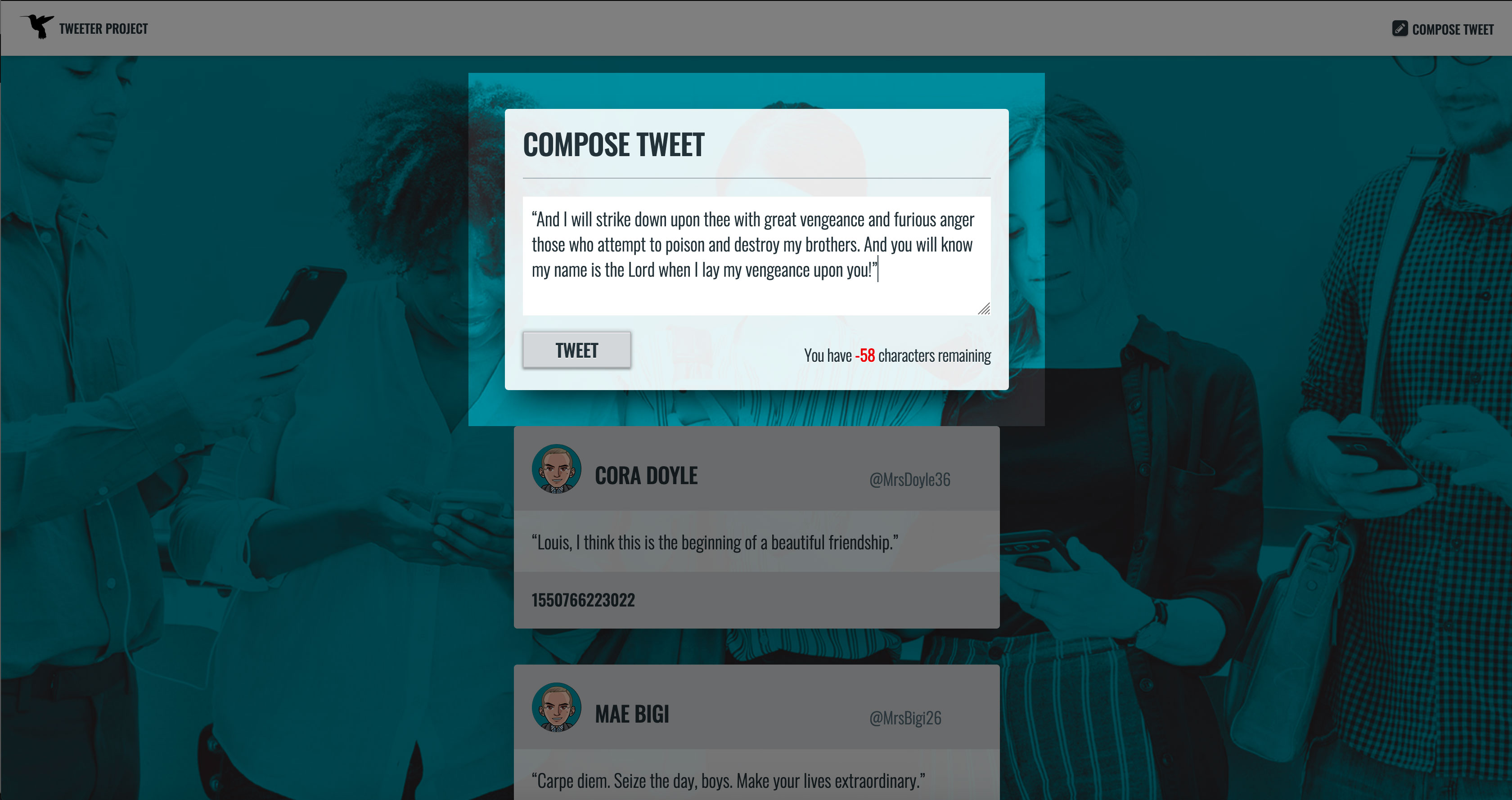 New Tweet, Web Form: Error Message, Content too Long
