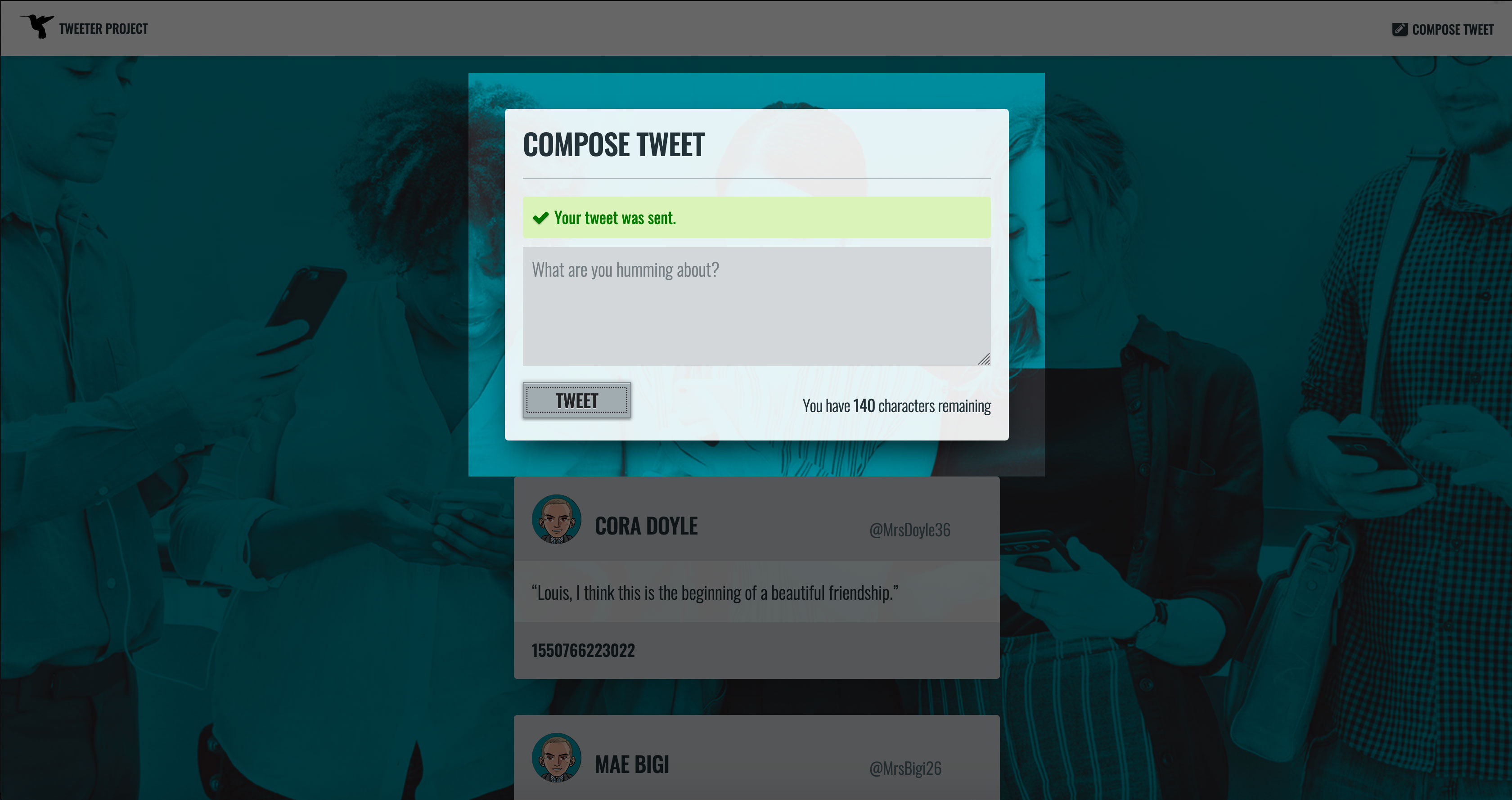 New Tweet, Web Form: Success Message