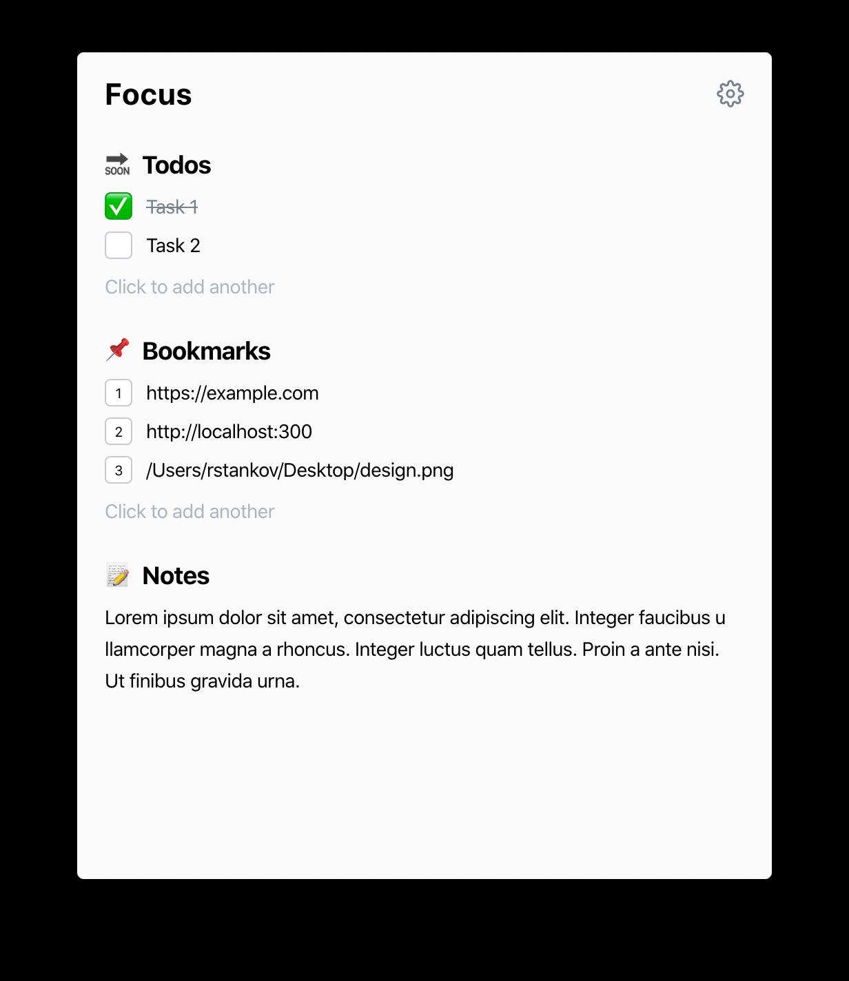 Focused Task screenshot