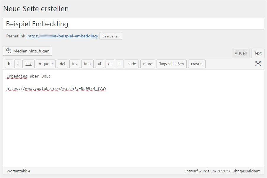 Bild: Embedding über URL - Codeansicht des Editors
