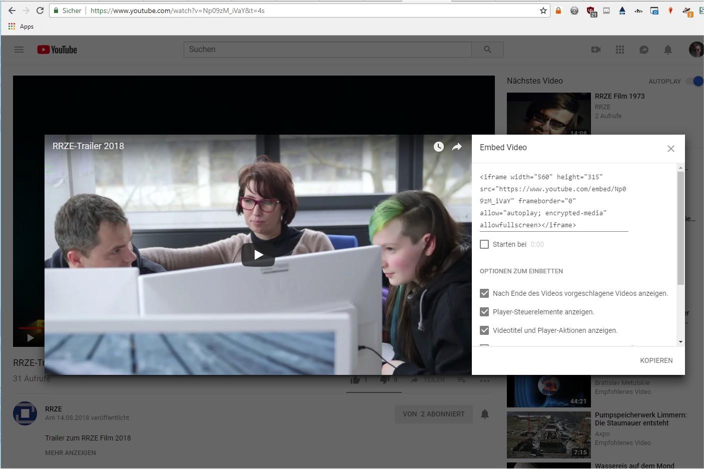 Bild: Embedding eines Videos von YouTube