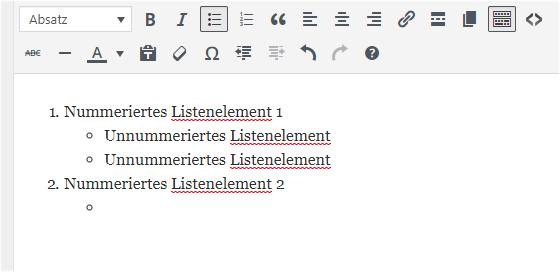 Bild: Nummerierte Liste mit unnummierten Unterlisten in einem TinyMCE-Editor