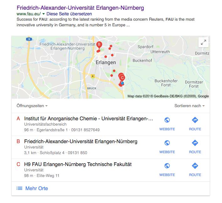 Bild: Anzeige der Öffnungszeiten von Teilen der Universität bei der Ausgabe einer Suche mit Google