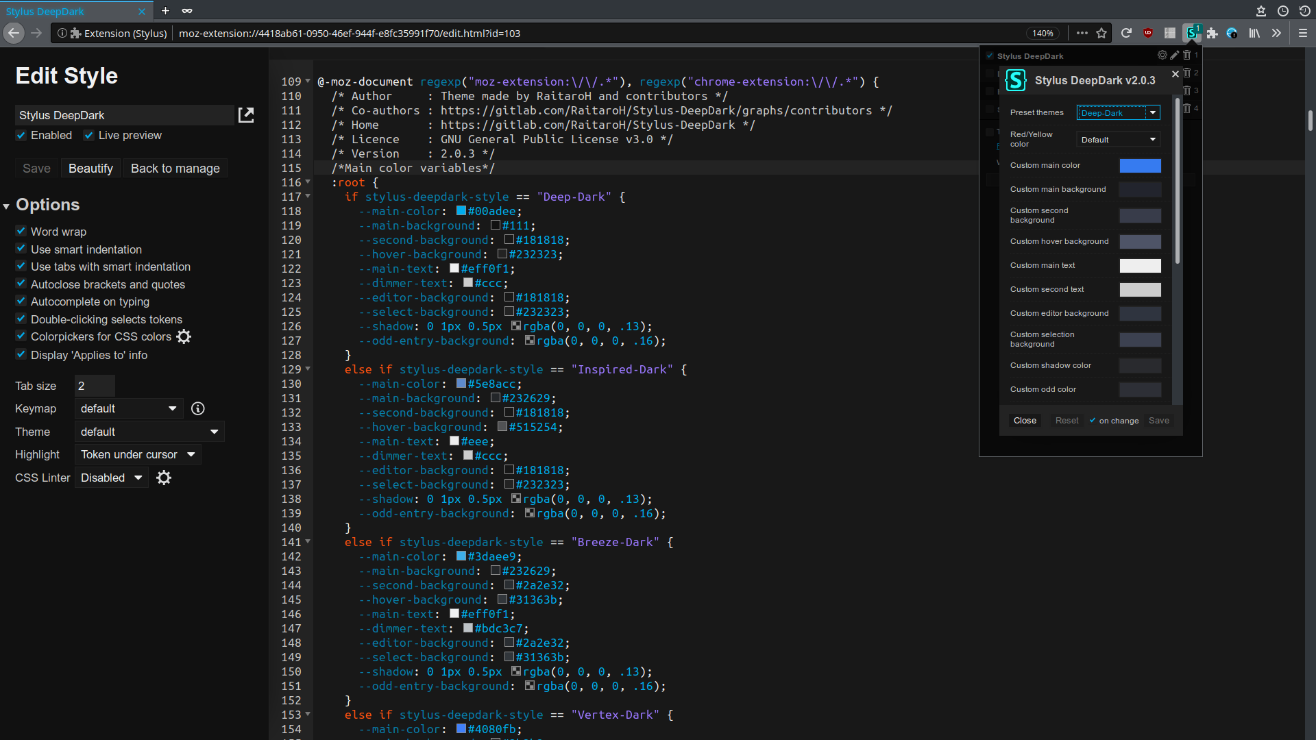 Stylus DeepDark screenshot