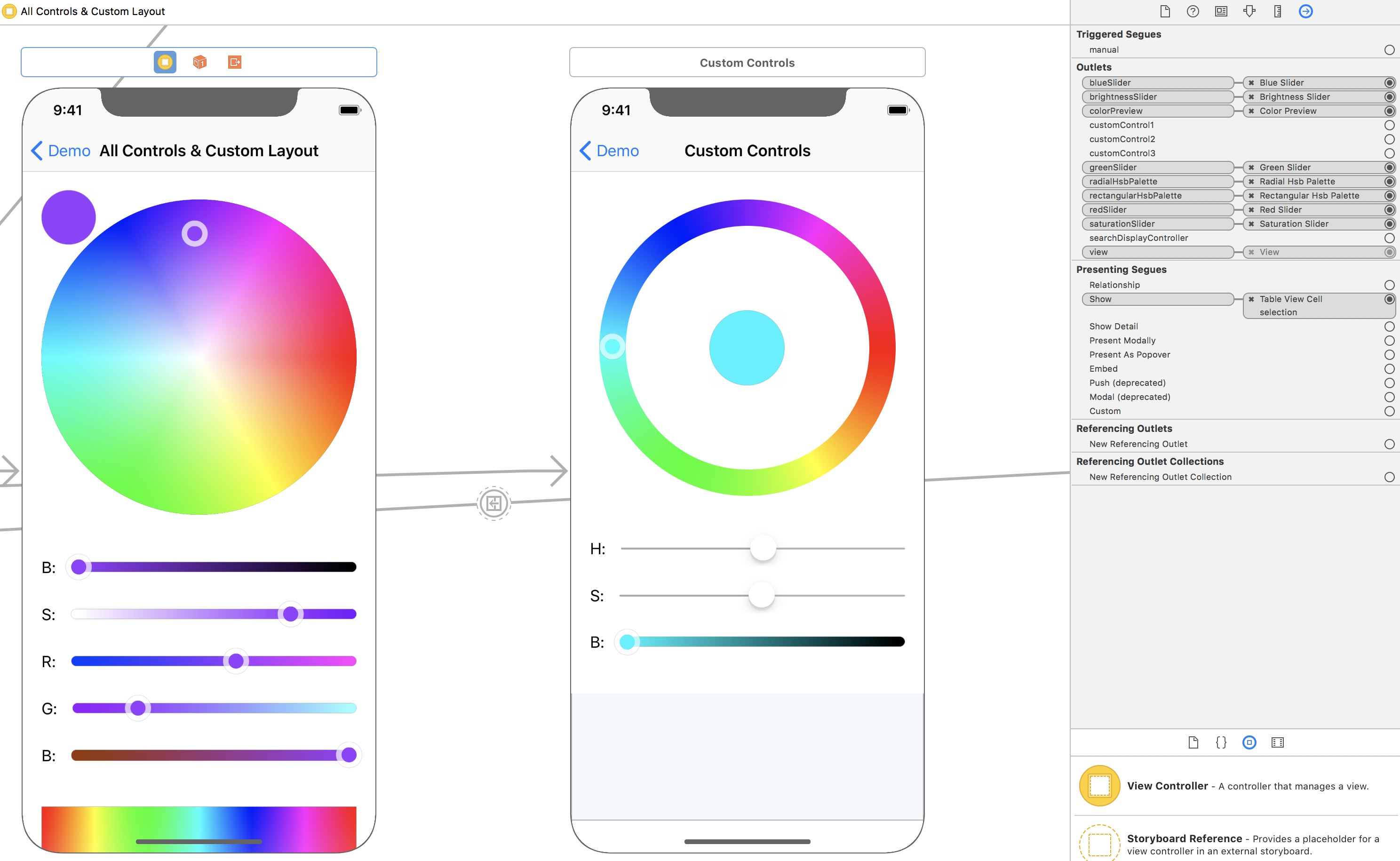 Working with Color Picker in XCode Storyboard