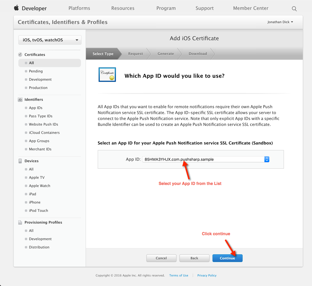 How to configure send apple push notifications using pushsharp step 2 choose your app id xflitez Image collections