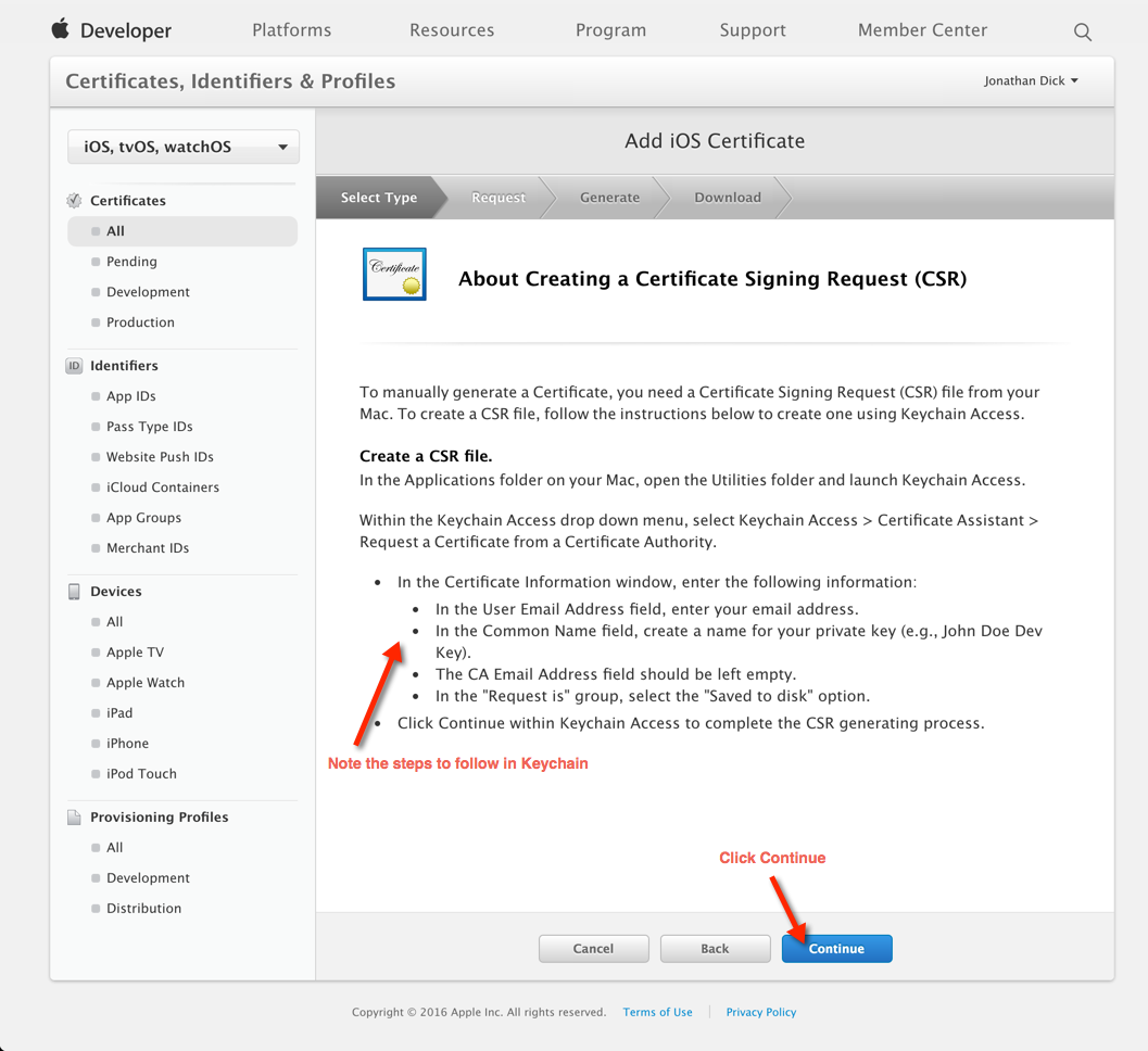 How to configure send apple push notifications using pushsharp information about requesting a certificate 1betcityfo Image collections