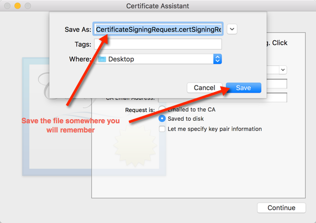 Step 8. Save the Certificate Signing Request