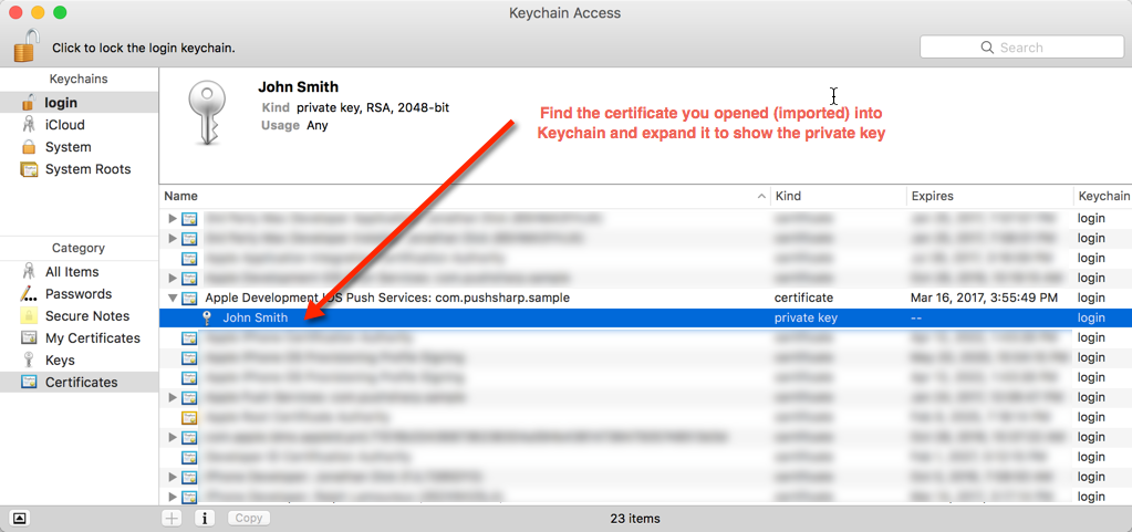 How to configure send apple push notifications using pushsharp find the certificate and private key yelopaper Gallery