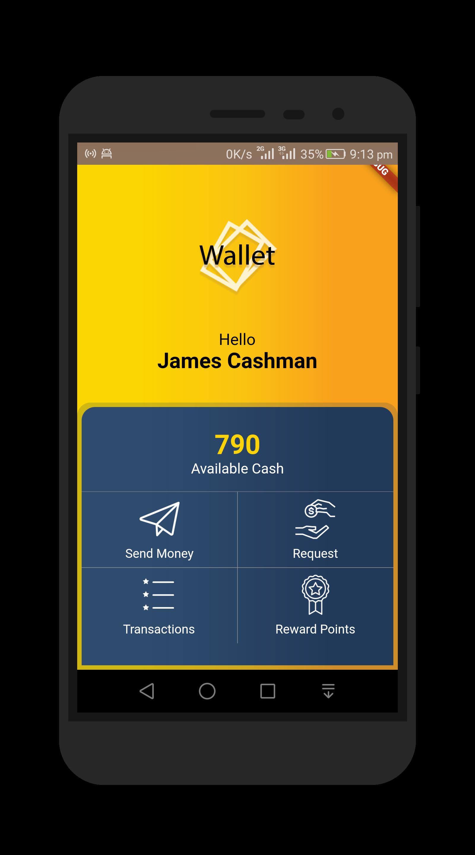 Flutter wallet ui app - UI Flutter
