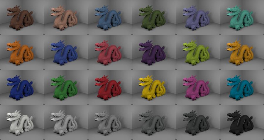 dragon model in 24 ColorChecker colors