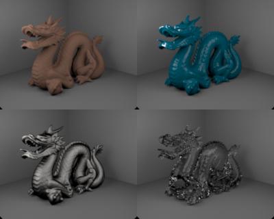 dragon model in 4 materials