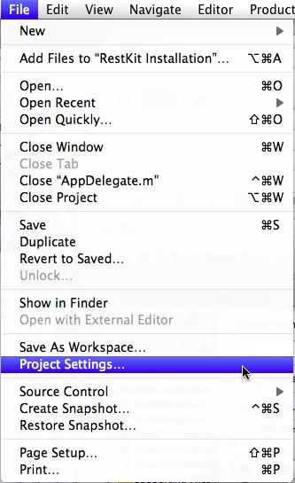 Open Project Settings