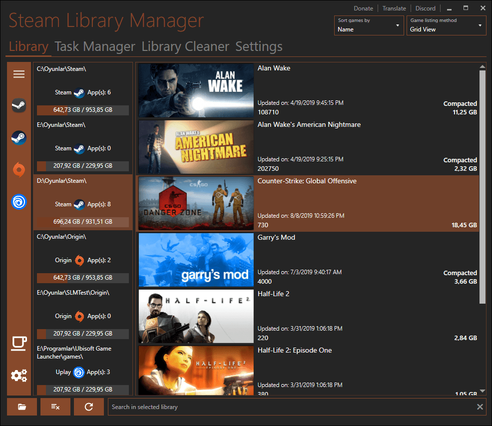 Manage your Steam libraries in ease of use