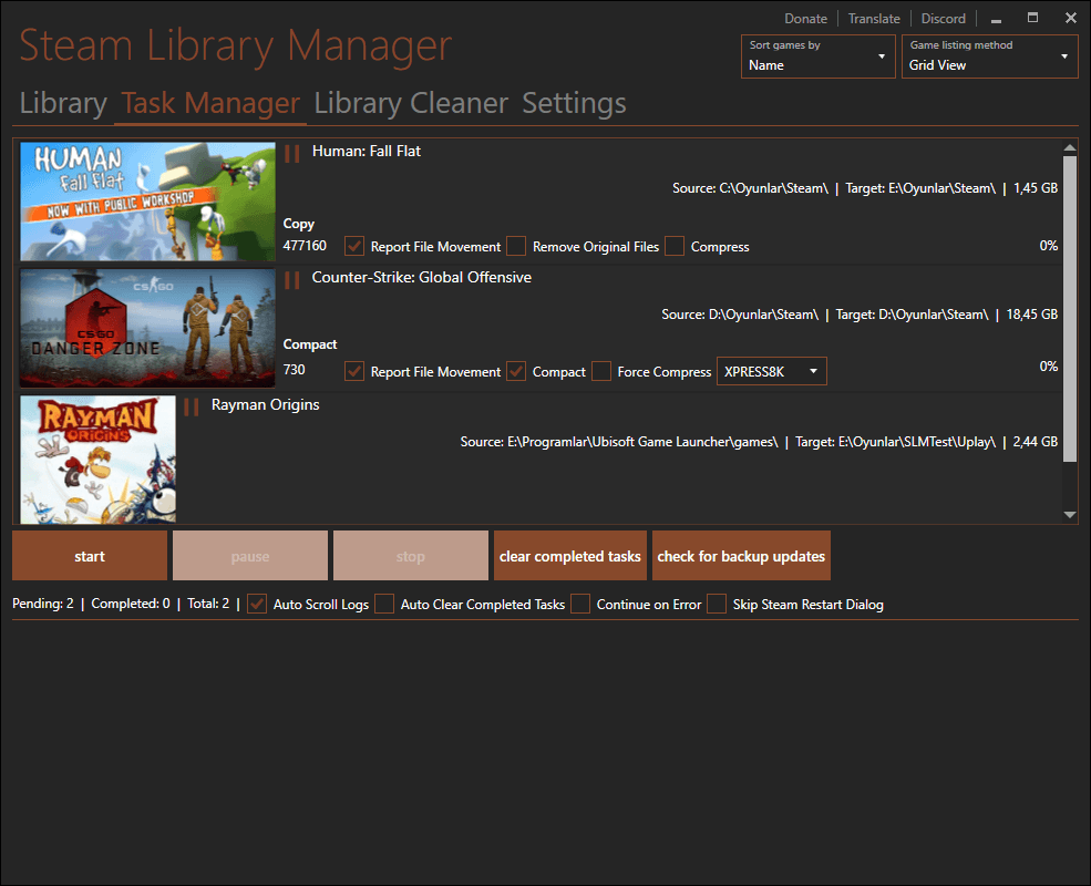 Steam Library Manager (+Origin, Uplay and Compact Support